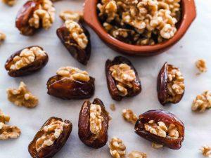 It's an easy sweet treat alternative. Walnuts in a fresh date.