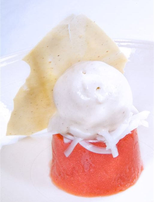 STRAWBERRY AGAR-AGAR YOUNG COCONUT AND CASHEW NUT ICE CREAM